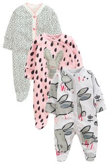 Dreamer Bunny Sleepsuits Three Pack (0mths-2yrs)