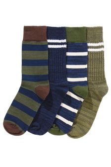 Chunky Mixed Design Socks Four Pack