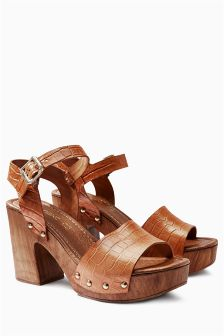 Leather Wood Look Sandals