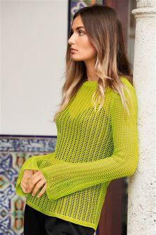 Open Stitch Flute Sleeve Sweater