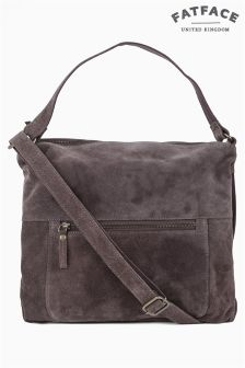 Fat Face Charcoal Sally Suede Shoulder Bag