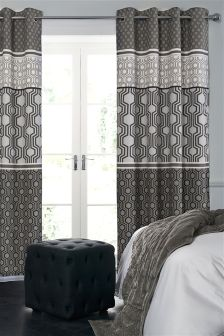Cotton Rich Luxe Geo Stripe Black Eyelet Lined Curtains