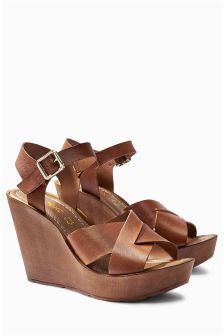 Leather Cross Strap Wedges