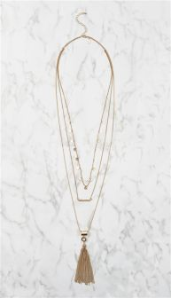 Gold Tone Multi-Row Necklace