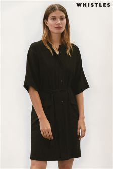 Black Whistles Belted Shirt Dress