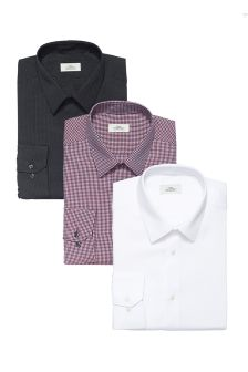 Textured Slim FIt Shirts Three Pack