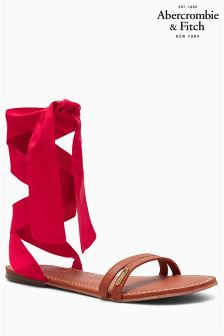Abercrombie & Fitch Tan/Red Ankle Wrap Sandal