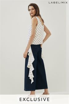 Mix/Kitri Studio Ruffle Polka Dot Top