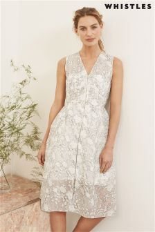 Whistles Ivory Marrion Double Layered Lace Dress