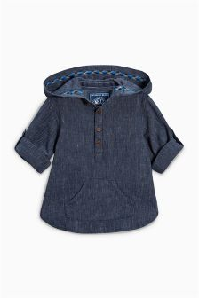Indigo Overhead Shirt With Hood (3mths-6yrs)