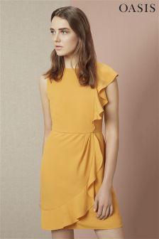 Yellow Oasis Frill Side Shift Dress