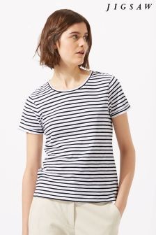Jigsaw Blue Cotton Slub Stripe Shirt