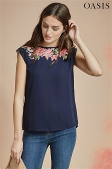 Oasis Navy Lace Trim Top