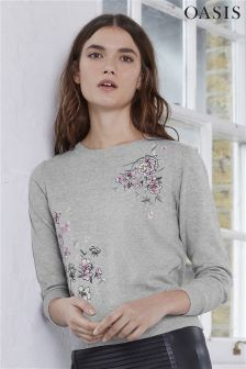 Oasis Lotus Print Embroidered Knit Top