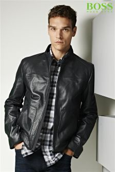 Boss Green Black Hybrid Leather Jacket