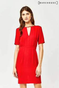 Warehouse Red V Front Dress