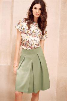 Khaki Satin Back A-Line Skirt