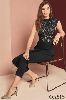 Oasis Black Ruffle Neck Lace Jumpsuit