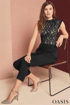 Oasis Black Ruffle Neck Lace Jumpsuit
