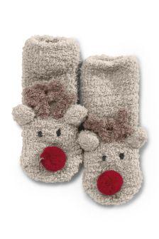 Reindeer Fluffy Socks (Younger Boys)