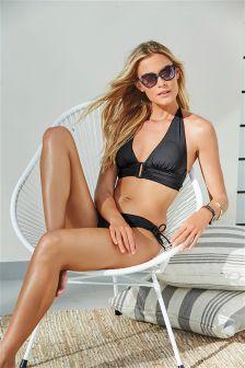 Black Trim Halterneck Bikini Top