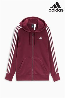 adidas Essential 3 Stripe Zip Through Hoody