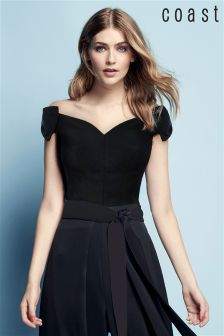 Coast Black Zahara Scoop Bow Top