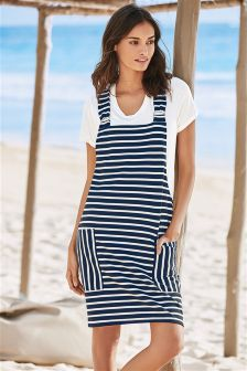 Navy Stripe Two Piece Pinafore Dress