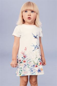 Bird Print Ponte Dress (3mths-6yrs)