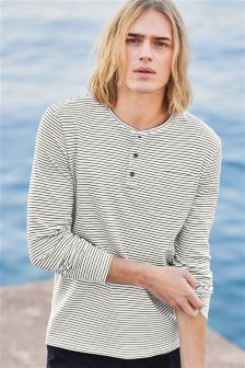 Long Sleeve Striped Grandad