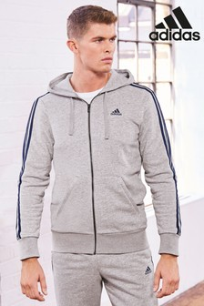 adidas Essentials 3 Stripe Zip Through Hoody