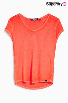 Superdry Fluro Coral Blossom Burnout Vee Tee