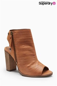 Superdry Tan Cara Peep Toe Ankle Boot With Cut-Out Heel