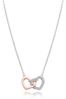 Beaverbrooks Silver Rose Gold Plated Cubic Zirconia Double Heart Necklace