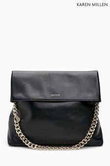 Karen Millen Black Leather Oversize Regent Bag