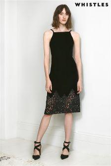 Whistles Black Dakota Velvet Dress