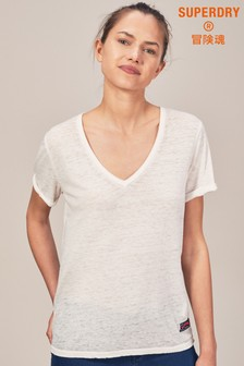 Superdry White Vee Neck Tee