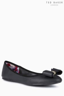 Ted Baker Black Metal Bow Pump Ballerina