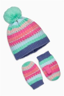Stripe Beanie And Mittens Set (Younger Girls)