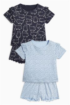 Cat Print Short Pyjamas Two Pack (3-16yrs)