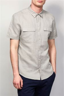Short Sleeve Utility Linen Rich Shirt