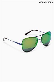 Michael Kors Blue Mirrored Rimless Aviator Style Sunglasses