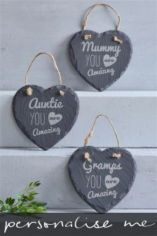 Real Slate Personalised Heart Hanging Sign Gift By Loveabode