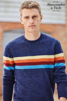 Abercrombie & Fitch Navy Rainbow Stripe Sweater