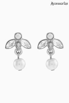 Accessorize Cream Florence Pearl Drop Earrings