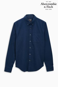 Abercrombie & Fitch Plain Navy Oxford Shirt