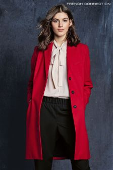 French Connection Red Platform Felt Coat