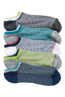 Cushioned Footbed Trainer Socks Five Pack