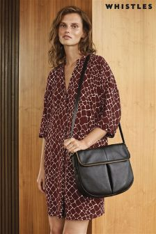 Whistles Burgundy Giraffe Print Dress