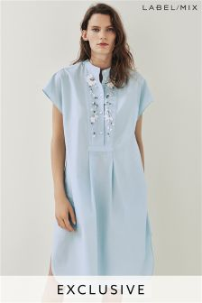 Mix/Anne Bernecker Cotton Embellished Shirt Dress